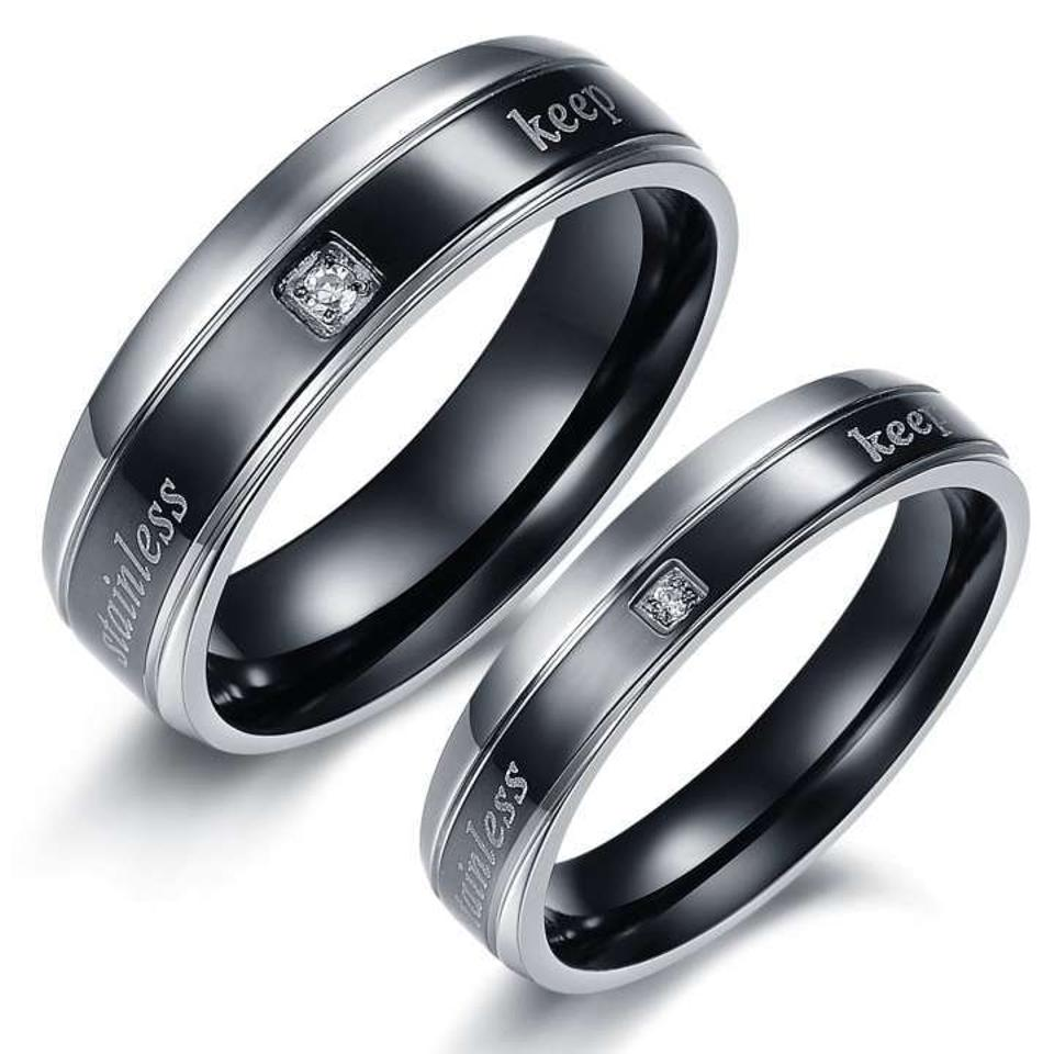 d1978b6dde Silver/Black Bogo Free 2c Matching Couples Ring Free Shipping Jewelry Set