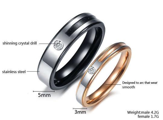 Silver/Black/Rose Gold Bogo Free 2pc Couples Ring Set Free Shipping Men's Wedding Band