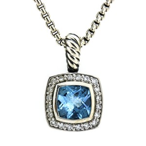 David Yurman Sterling Silver Blue Topaz Diamond Albion Petite Pendant Necklace