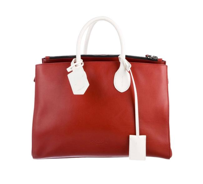 Item - 205w39nyc 2017 Bicolor Tote Red/White Leather Satchel