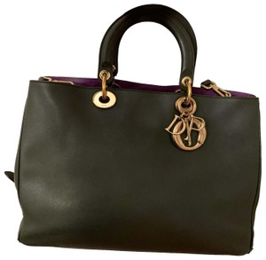 Dior Tote in Forest green/violet inside