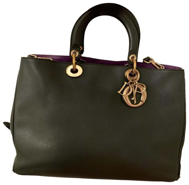 Item - Large issimo Forest Green/Violet Inside Leather Tote