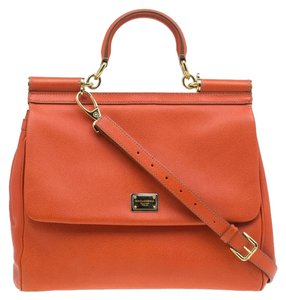 Dolce&Gabbana Leather Tote in Orange