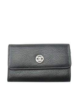 Chanel Chanel A33928 Vintage Key Pouch Black Solid Leather Key Ring (175493)