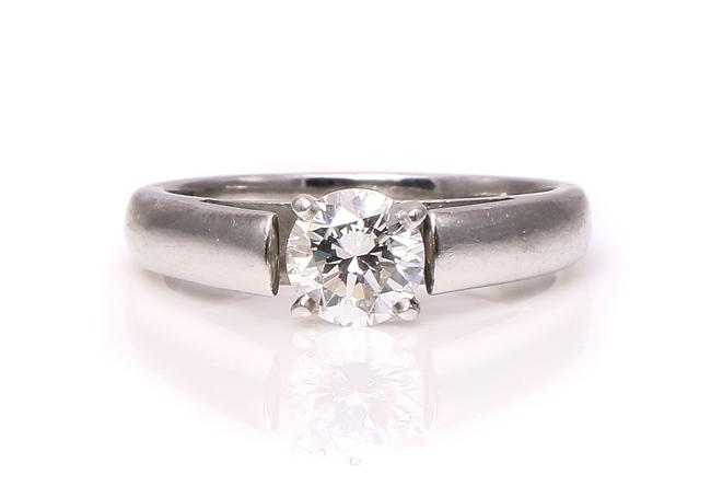 Item - Platinum Diamond Solitaire Cathedral Setting Engagement Ring