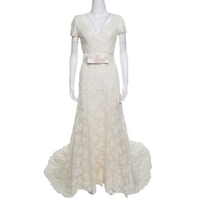 Valentino Cream Sposa Floral Beaded Lace Hesperides Sheath Gown M Casual Wedding Dress Size 8 (M)
