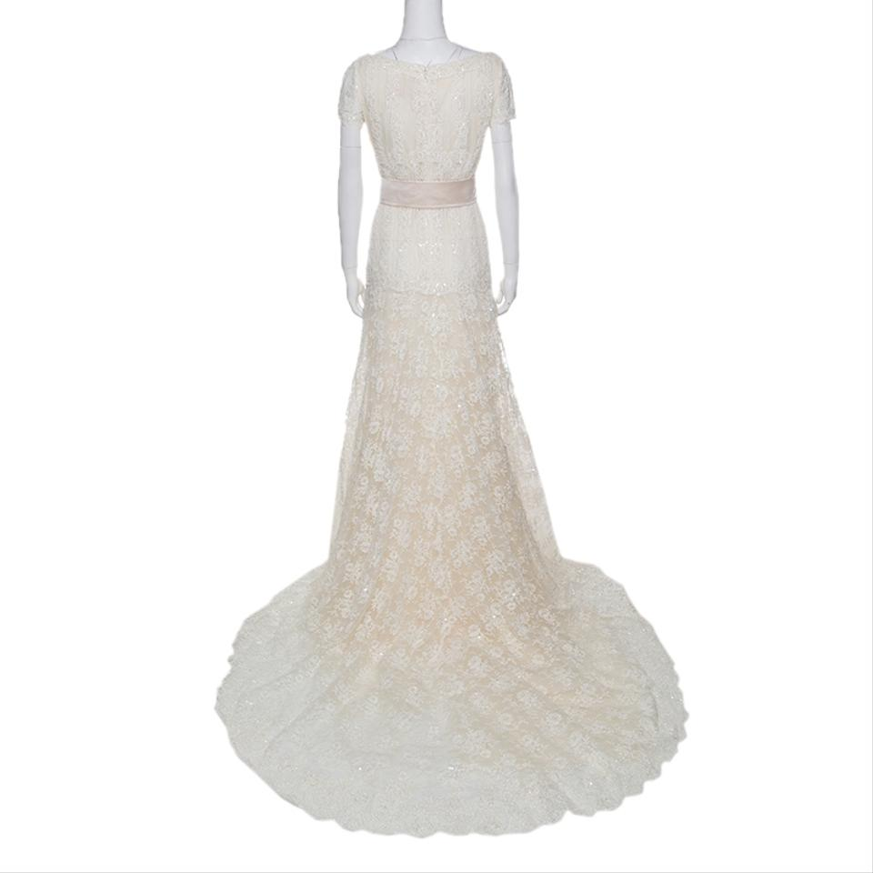 the best attitude d3529 b747c Valentino Cream Sposa Floral Beaded Lace Hesperides Sheath Gown M Casual  Wedding Dress Size 8 (M) 69% off retail