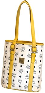 MCM Tote in yellow, white with gold hardware