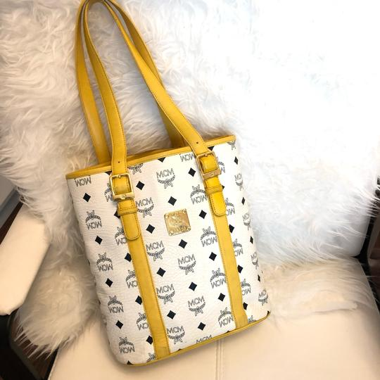 MCM Tote in yellow, white with gold hardware Image 1