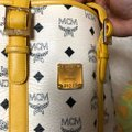 MCM Tote in yellow, white with gold hardware Image 12