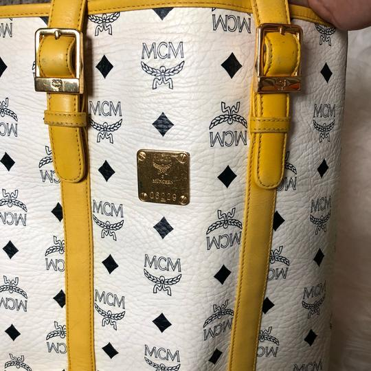 MCM Tote in yellow, white with gold hardware Image 7