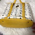 MCM Tote in yellow, white with gold hardware Image 8