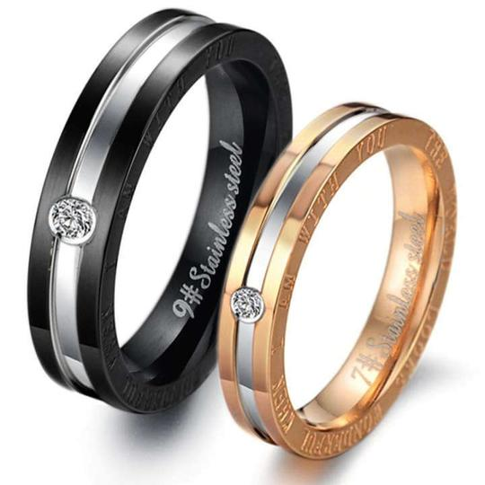 Silver/Black/Rose Gold Bogo Free 2pc Matching His Hers Band Free Shipping Jewelry Set