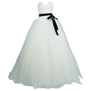Vera Wang Cream Strapless Lace Tulle S Casual Wedding Dress Size 4 (S)