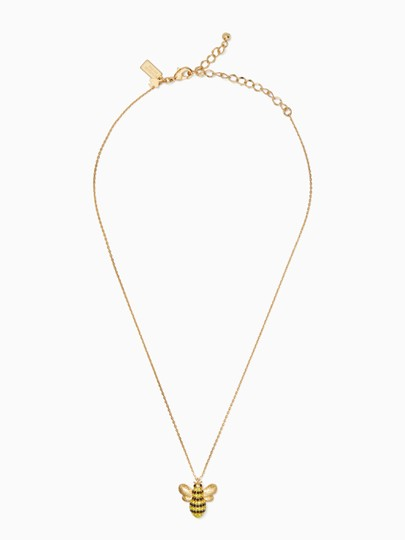 Kate Spade NEW 12K Gold Picnic Perfect Pavé Bee Necklace Image 3