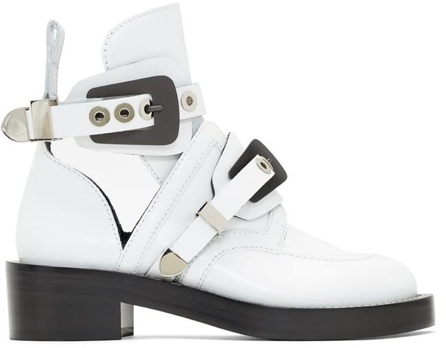 Item - White Ceinture Black Leather Metal Buckle Cut Out Short Ankle Combat Boots/Booties Size EU 40 (Approx. US 10) Regular (M, B)