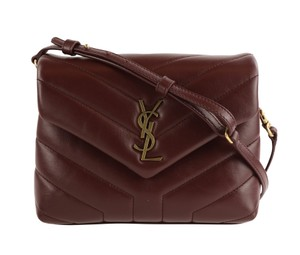 Saint Laurent Calfskin Leather Gold Hardware Cross Body Bag