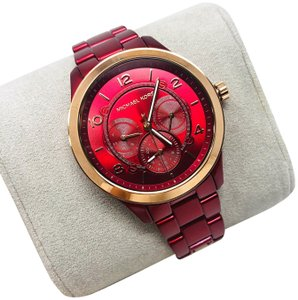 Michael Kors NWT Women's Runway Chronograph Red Coated Stainless Steel Watch MK6594