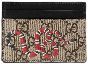 Gucci NEW Gucci Snake Beige Supreme Card Case Holder