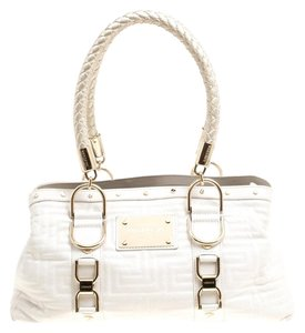 Versace Leather Quilted Tote in White