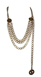 Chanel Chanel 18 kt Gold Plated Monogrammed Coin Triple Strand Necklace