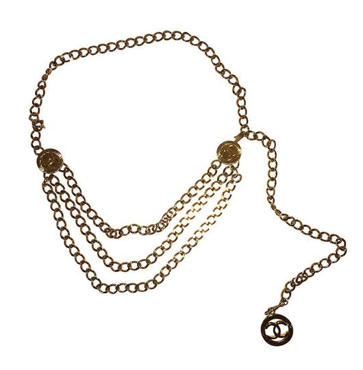 Chanel Chanel 18 kt Gold Plated Monogrammed Coin Triple Strand Necklace Image 3