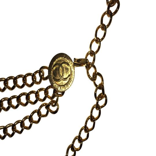 Chanel Chanel 18 kt Gold Plated Monogrammed Coin Triple Strand Necklace Image 4