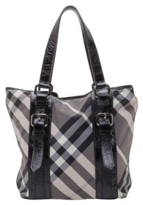 Burberry Leather Canvas Check Tote in Grey