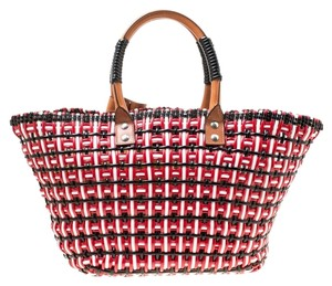 Balenciaga Leather Woven Tote in Multicolor