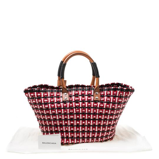 Balenciaga Leather Woven Tote in Multicolor Image 10