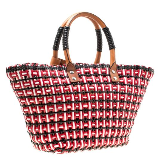 Balenciaga Leather Woven Tote in Multicolor Image 3