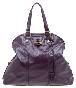 Saint Laurent Fabric Leather Oversized Tote in Purple