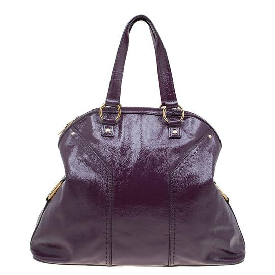 Saint Laurent Fabric Leather Oversized Tote in Purple Image 1