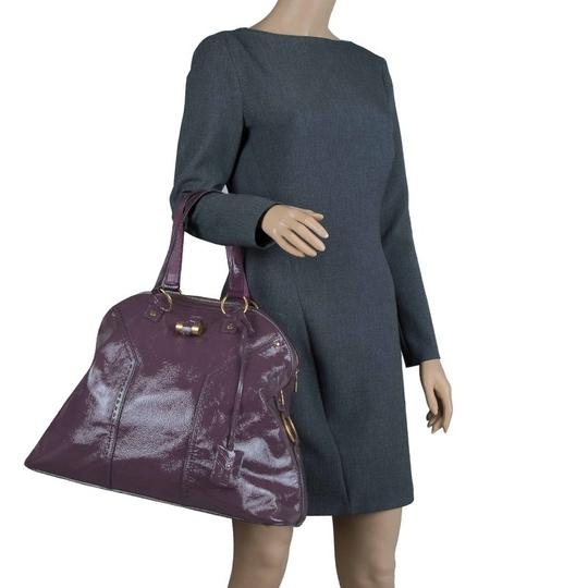 Saint Laurent Fabric Leather Oversized Tote in Purple Image 2