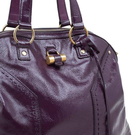 Saint Laurent Fabric Leather Oversized Tote in Purple Image 4