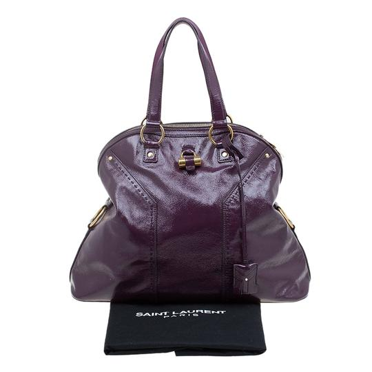 Saint Laurent Fabric Leather Oversized Tote in Purple Image 8