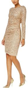 Adrianna Papell Cowl Back Sequin Longsleeve Embellished Ruched Dress