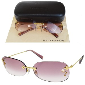 Louis Vuitton LOUIS VUITTON Death Mayo Rectangle Sunglasses Eye Wear Gold