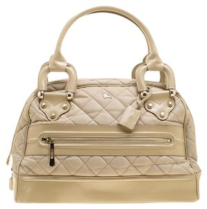 Burberry Fabric Nylon Leather Satchel in Beige