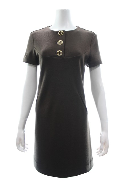 Item - Brown Wool Blend Short Sleeved Small Work/Office Dress Size 10 (M)