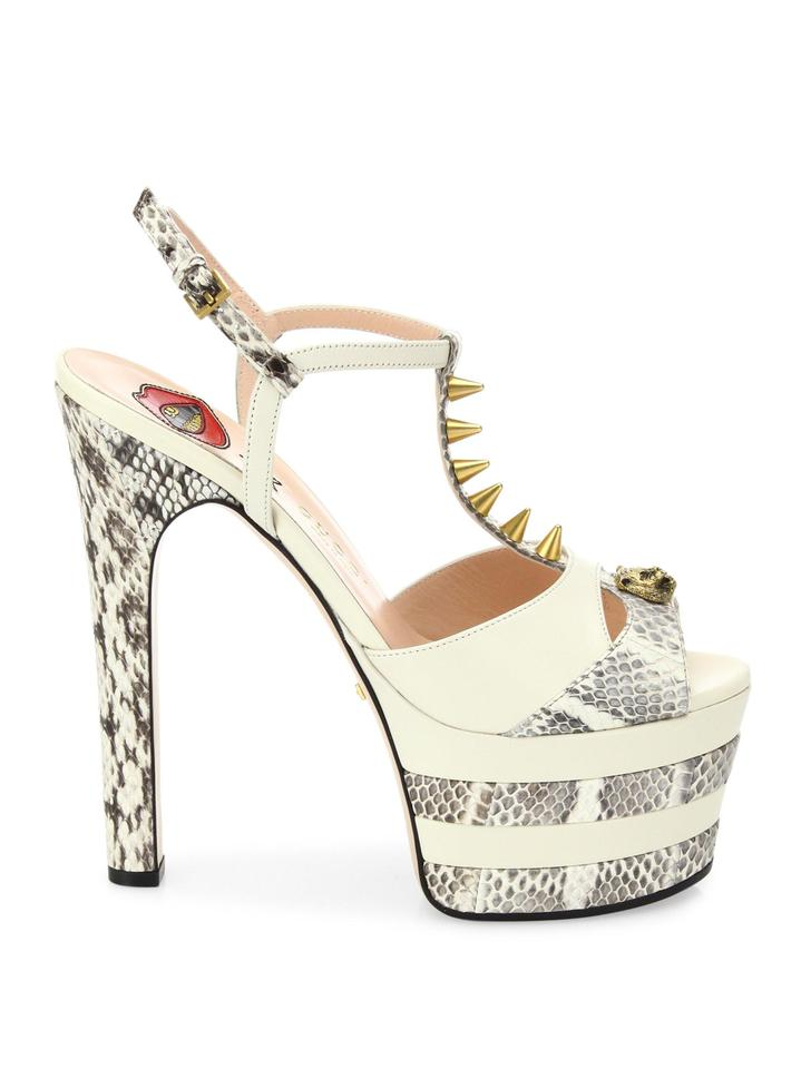 2b3b481d284 Gucci Ivory Women Angel Leather & Snakeskin Peep Toe Platform Sandals Pumps  Size EU 38 (Approx. US 8) Regular (M, B) 58% off retail