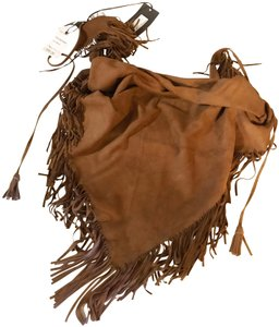 Saint Laurent SS19 NWT New YSL Light Brown Goat Suede Large Fringe Wrap / Scarf