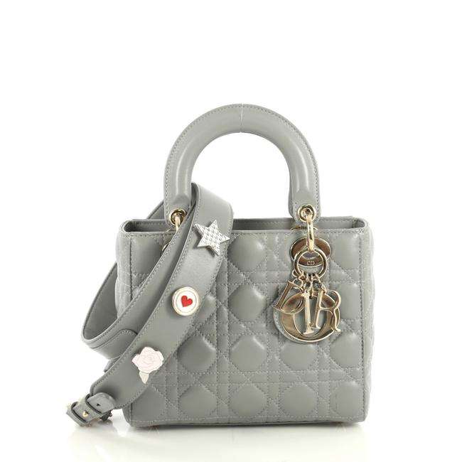 Item - My Lady Cannage Quilt Gray Lambskin Leather Satchel