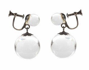 sterling silver Art Deco Pools of Light Dangle Ball Earrings