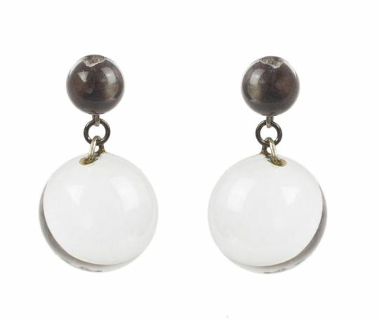 sterling silver Art Deco Pools of Light Dangle Ball Earrings Image 2