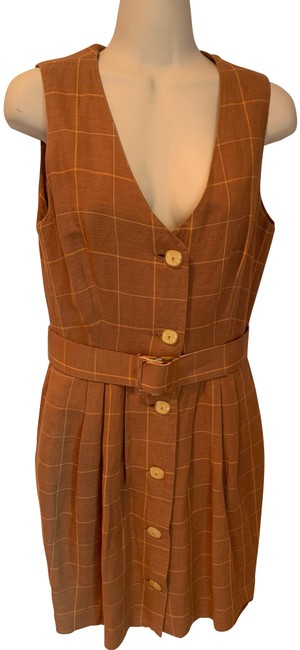 Preload https://img-static.tradesy.com/item/25819270/the-limited-tan-orange-yellow-vintage-button-down-short-casual-dress-size-4-s-0-1-650-650.jpg