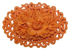 vintage Celluloid Faux Carved Red Coral Floral Motif Pin/Brooch