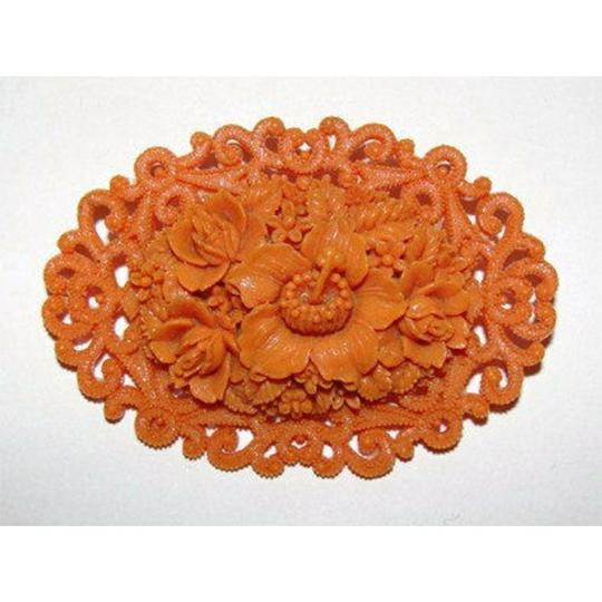 vintage Celluloid Faux Carved Red Coral Floral Motif Pin/Brooch Image 1