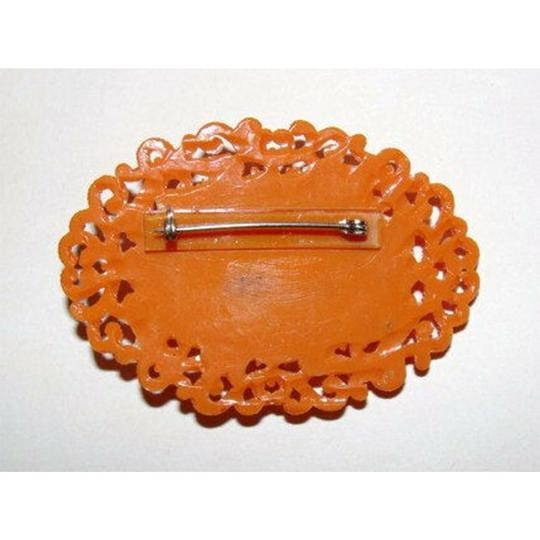 vintage Celluloid Faux Carved Red Coral Floral Motif Pin/Brooch Image 2
