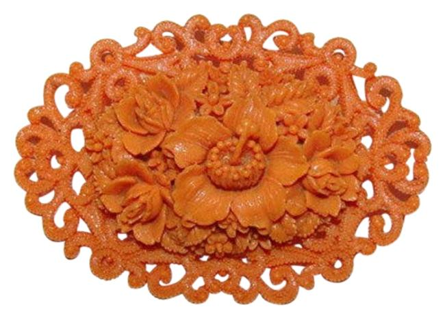 Item - Orange Celluloid Faux Carved Red Coral Floral Motif Pin/Brooch
